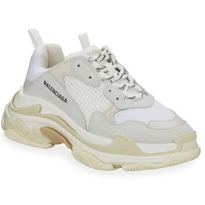 Balenciaga Triple S Mesh & Leather Sneakers, White